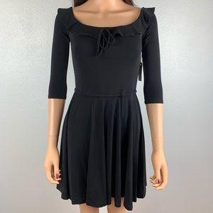 Lovers + Friends black ruffled neckline mini dress